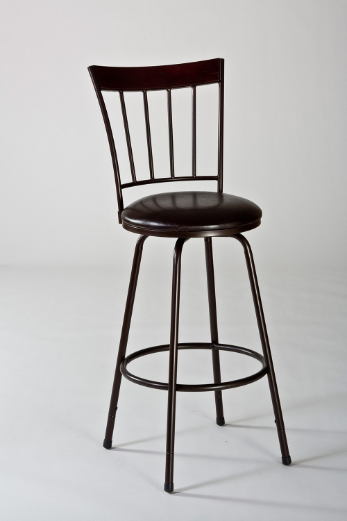 Cantwell Swivel Counter Bar Stool with Nested Leg - Brown/Brown PU