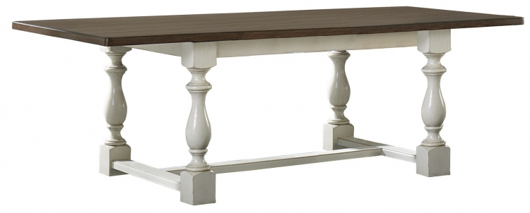 Pine Island Leg Trestle Table - Old White