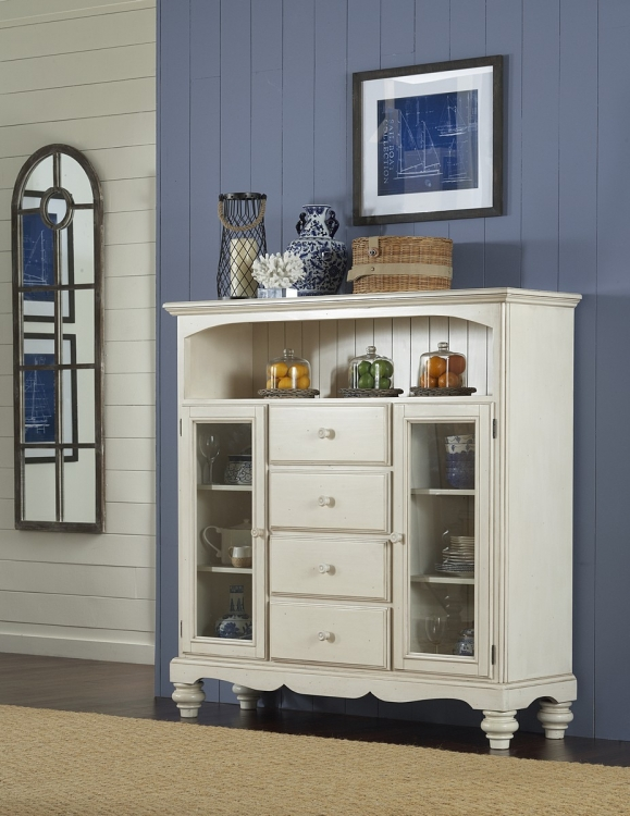 Pine Island Four Drawer Bakers Cabinet - Old White