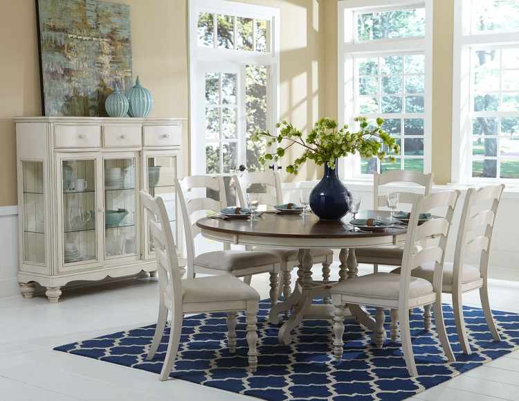 Pine Island 7PC Round Dining Set - Old White