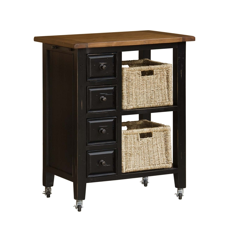 Tuscan Retreat Kitchen Cart with 2 Basket Storage - Black/Oxford
