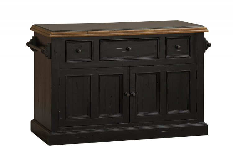Tuscan Retreat Large Granite Top Kitchen Island - Black/Oxford