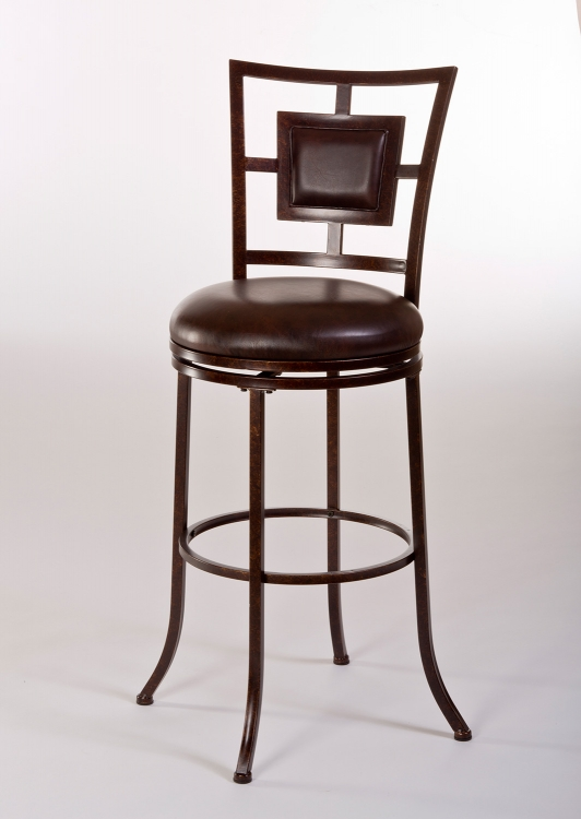 Foxholm Swivel Counter Stool - Antique Copper/Dark Brown PU