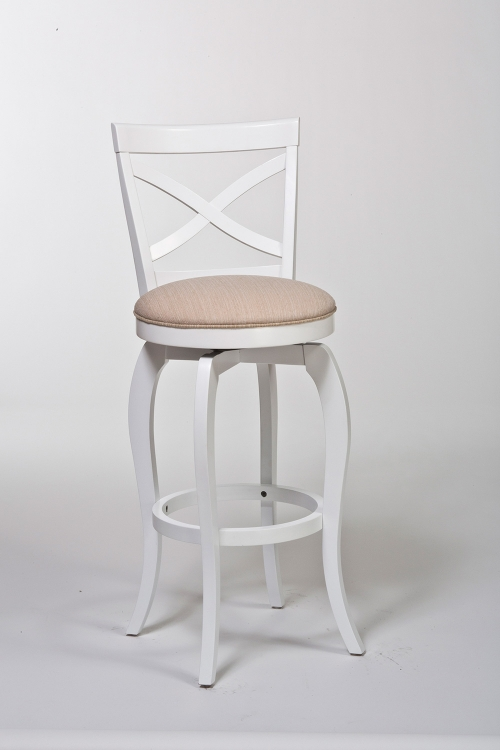 Ellendale Swivel Bar Stool - White/Beige