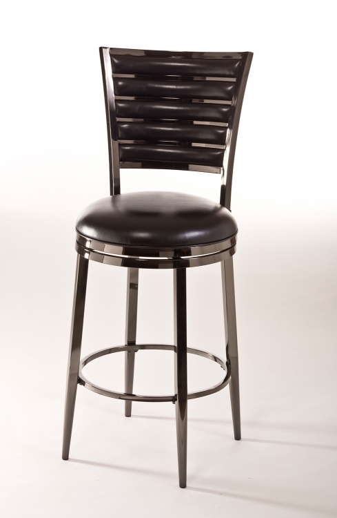 Rouen Swivel Bar Stool - Black Nickel/Black PU