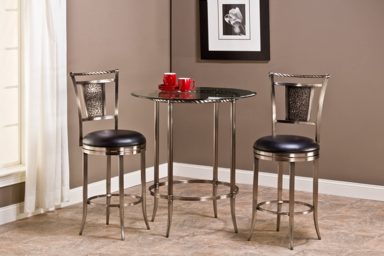 Parkside 3 Piece Pub Table Set - Antique Pewter