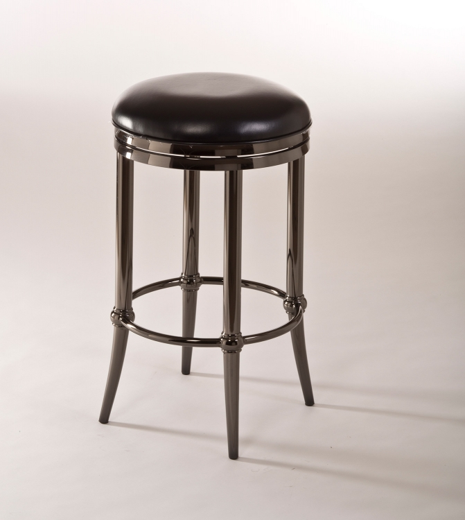 Cadman Backless Counter Stool - Black Nickel/Black PU