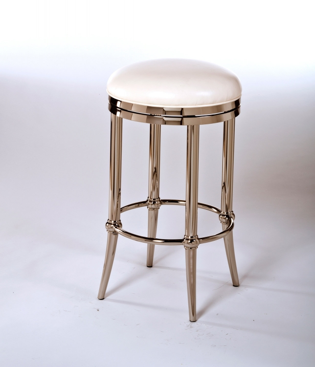 Cadman Backless Counter Stool - Shiny Nickel/Ivory PU