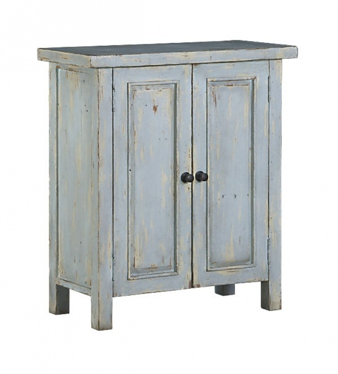 Tuscan Retreat 2 Door Small Cabinet - Sea Blue with Antique Pine Top