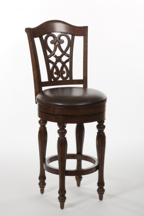 Hamilton Park Swivel Counter Stool with Scroll Back - Brown PU