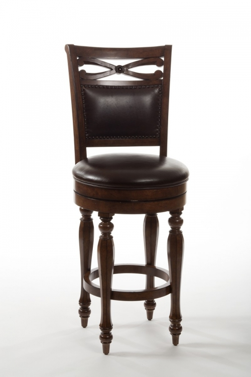 Hamilton Park Swivel Bar Stool with Upholstered Back - Brown PU