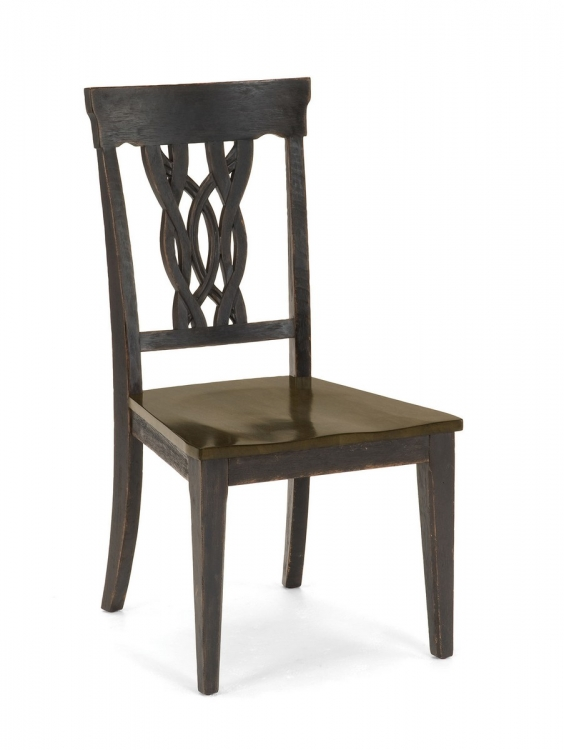 Lafayette Center Panel Dining Chair - Black Gray with Walnut