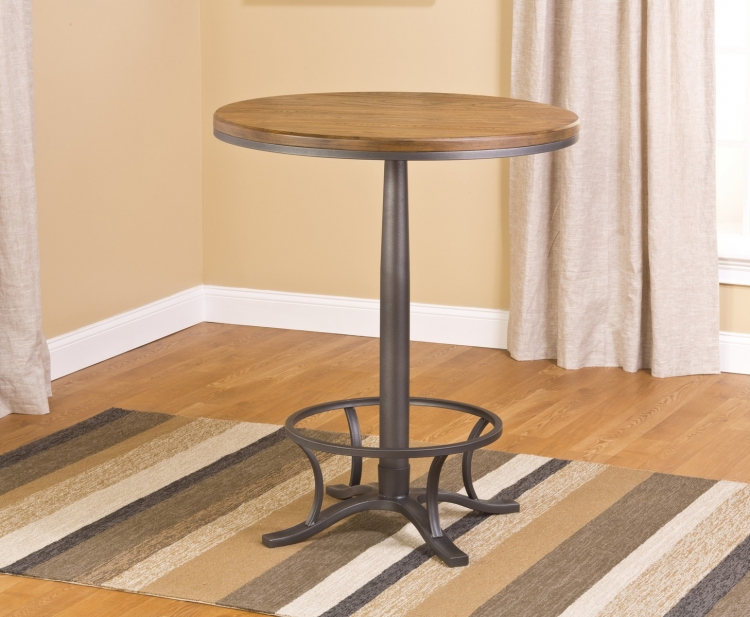 Westview Bar Height Bistro Table - Steel Gray/ Oak/ Black