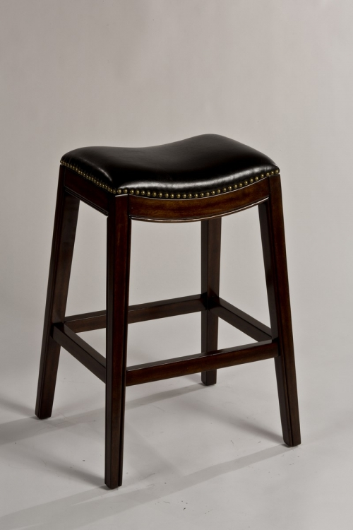 Sorella Non-Swivel Backless Counter Stool - Espresso - Black PU