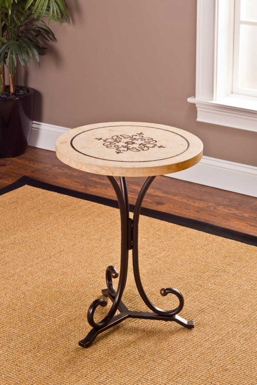 Belladora Round End Table - Copper Gold