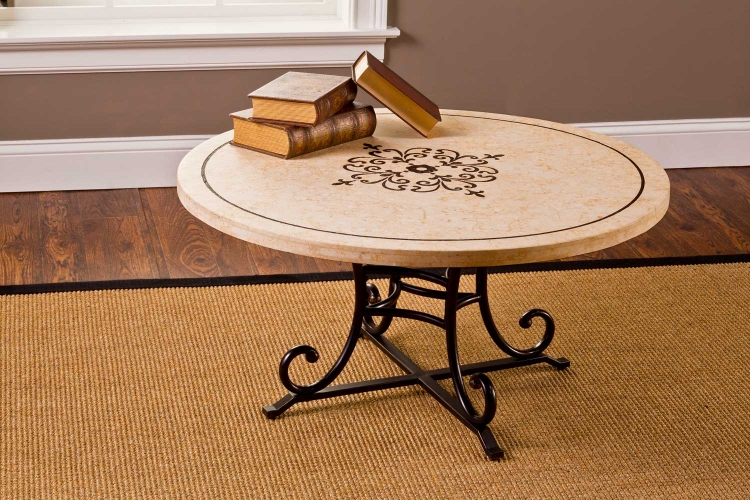 Belladora Round Coffee Table - Copper Gold