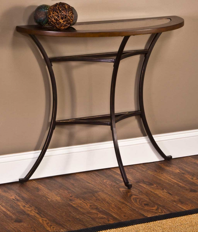 Montclair Console Table - Wood Border with Mirrored Glass Top/ Metal - Copper Gold