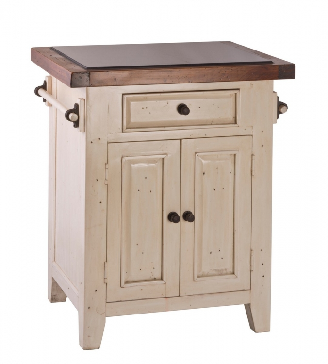 Tuscan Retreat Kitchen Island - White/Antique Pine