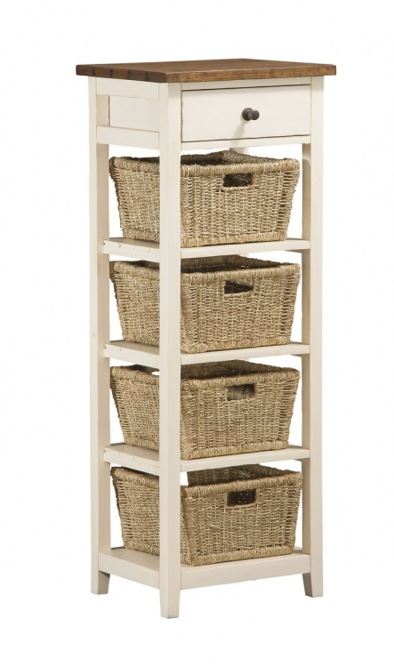 Tuscan Retreat 4 Basket - 1 Drawer Open Side Stand - Country White with Antique Pine Top