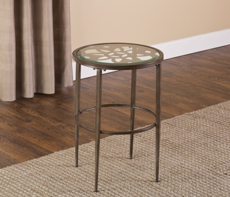 Marsala End Table - Gray with Brown Rub