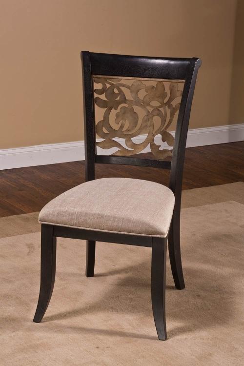 Bennington Dining Chair - Black Distressed Gray - Putty Fabric