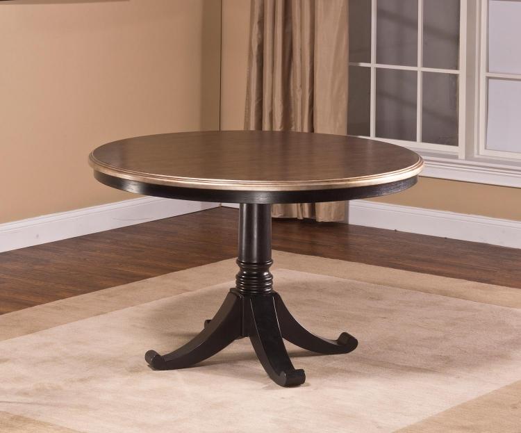 Bennington Pedestal Table - Black Distressed Gray
