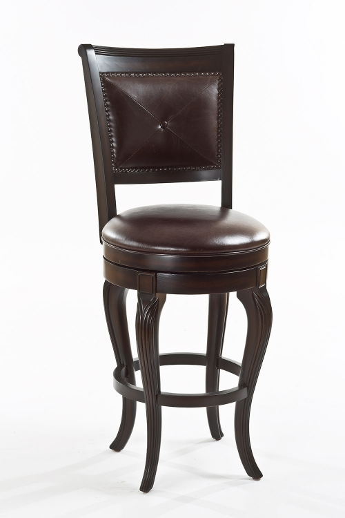 Cambridge Court Swivel Counter Stool - Dark Cherry - Brown Leatherette
