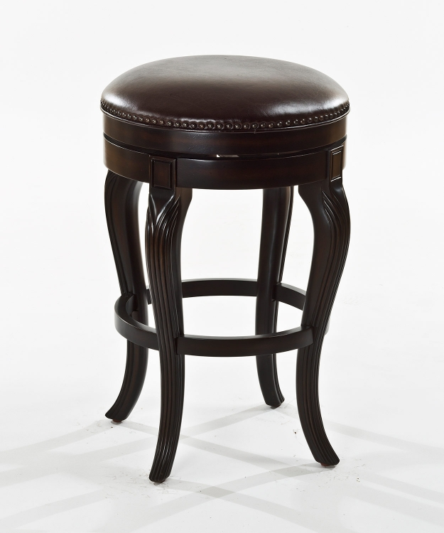 Cambridge Court Backless Counter Stool - Dark Cherry - Brown Leatherette