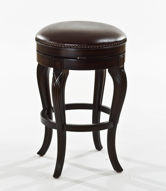 Cambridge Court Backless Bar Stool - Dark Cherry - Brown Leatherette
