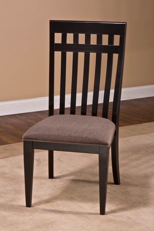 Copeland Dining Chair - Distressed Black - Woven Gray Fabric