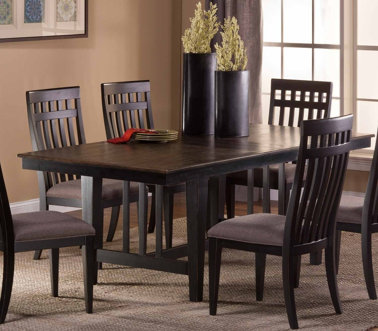 Copeland 5 PC Dining Set - Distressed Black - Woven Gray Fabric