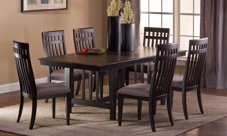 Copeland 7 PC Dining Set - Distressed Black - Woven Gray Fabric