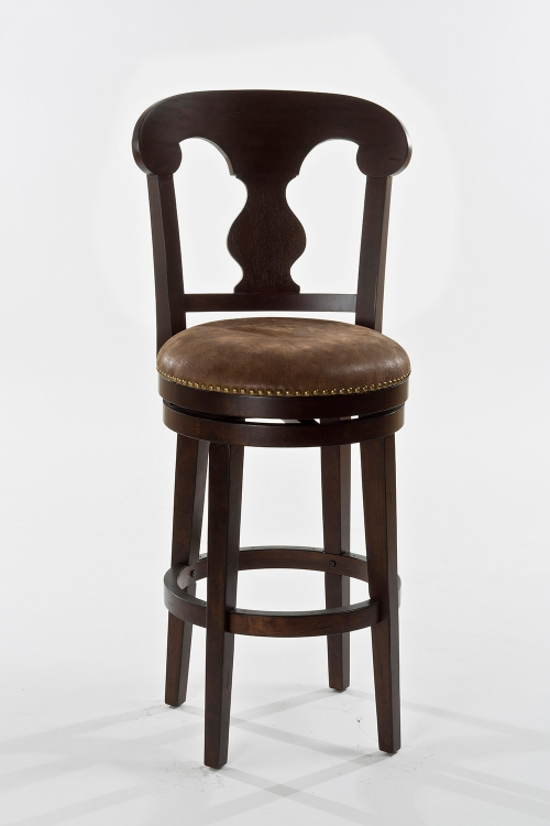 Burkard Swivel Bar Stool - Dark Brown - Brown Leatherette