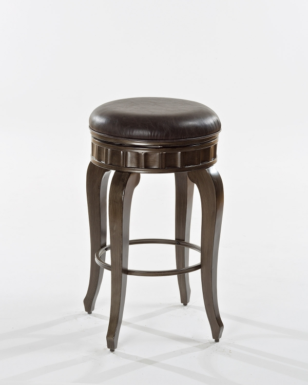 Devon Backless Swivel Bar Stool - Antique Brushed Pewter - Charcoal Faux Leather