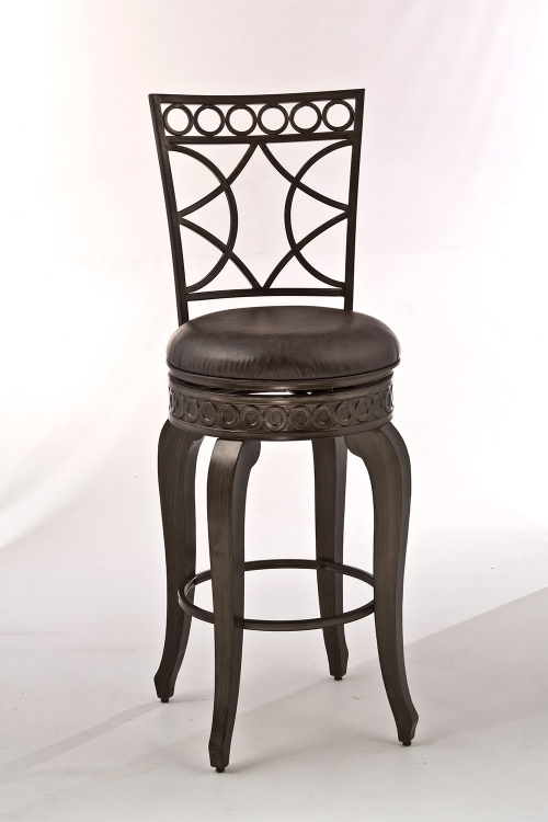 Webster Swivel Counter Stool - Antique Brushed Pewter - Charcoal Faux Leather