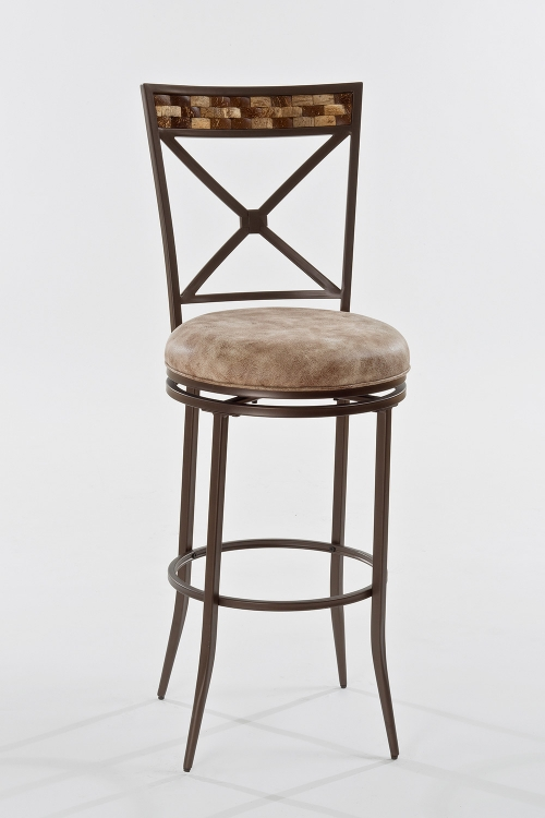 Compton Swivel Counter Stool - Brown - Weathered Beige Leatherette
