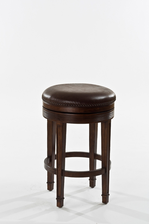 Laurent Backless Swivel Counter Stool - Distressed Brown - Chestnut Leatherette