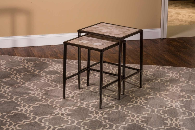 Chancey Nesting 2 PC Set Tables - Charcoal Gray Metal