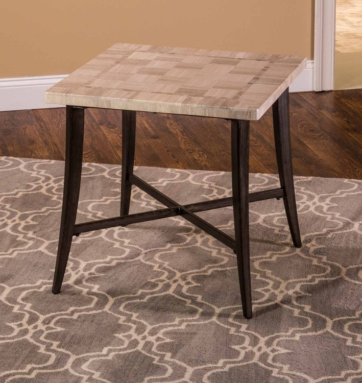 Chancey Square End Table - Charcoal Gray Metal
