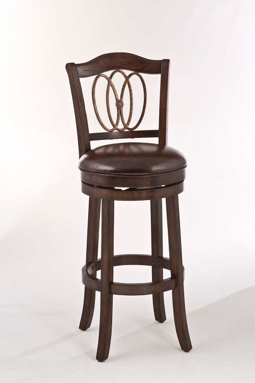 Lyndale Swivel Counter Stool - Distressed Chestnut - Brown Faux Leather