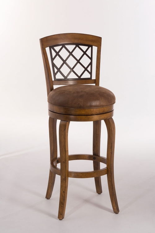 Ericsson Swivel Bar Stool - Distressed Light Pine - Brown Leatherette