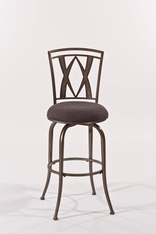 Crossgate Swivel Bar Stool - Black Pewter - Woven Charcoal Fabric