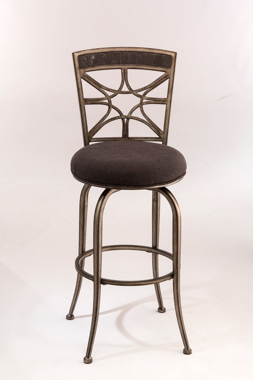 Chandler Swivel Counter Stool - Black Pewter - Woven Charcoal Fabric