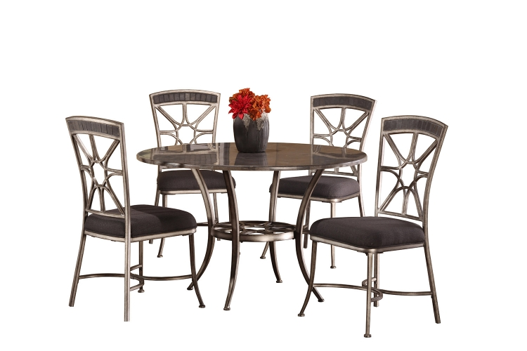 Chandler 5-Piece Dining Set - Black Pewter/Blue Stone Top