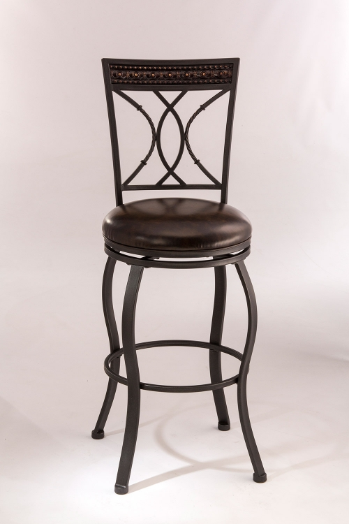 Kirkham Swivel Counter Stool - Black Silver - Dark Brown Leatherette