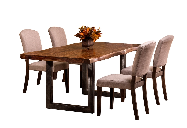 Emerson 5-Piece Rectangle Dining Set - Natural Sheesham/Gray Coat/Black