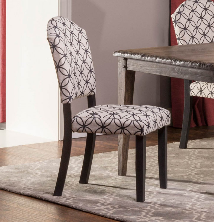 Lorient Parsons Dining Chair - Distressed Black - Bristol Black - Off White with Black Circle Pattern