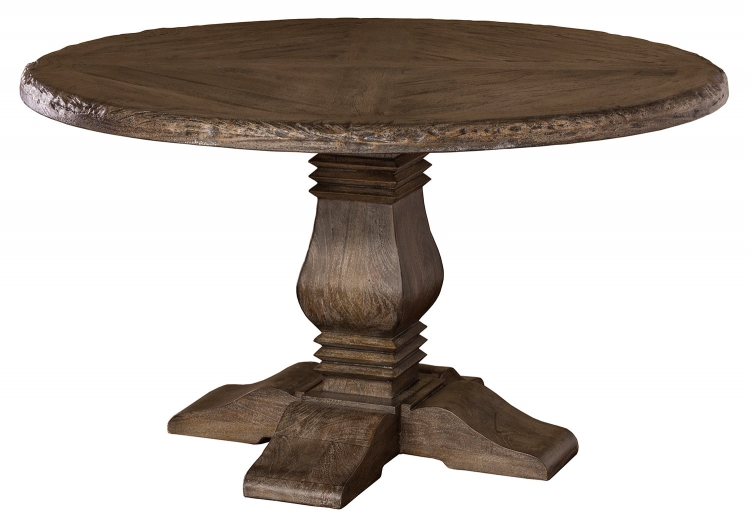 Lorient Round Dining Table - Washed Charcoal Gray