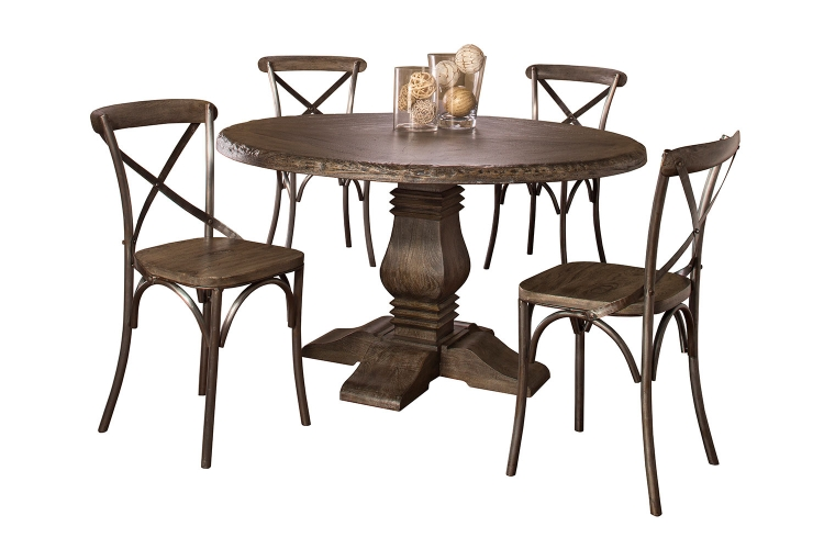 Lorient 5 PC Round Dining Set with X Back Chairs - Washed Charcoal Gray