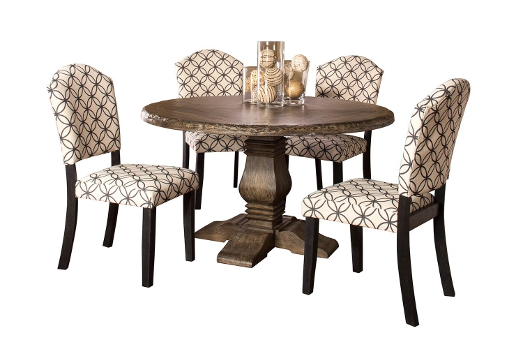 Lorient 5 PC Round Dining Set with Parsons Chairs - Washed Charcoal Gray